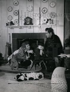 Lucille Ball & Desi Arnaz at home with their dogs 1940s