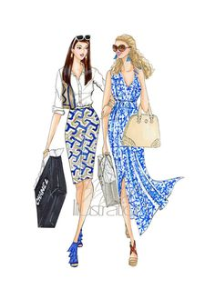 Fashion Illustration Print Friends on Fifth by MMichelIllustration