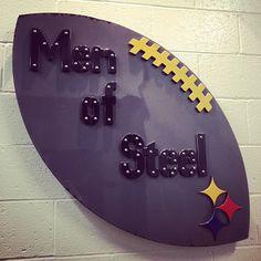This is the piece of steel that hangs outside the @Pittsburgh Steelers Football locker room in Heinz