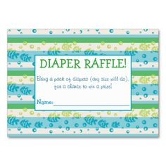 Swimming Fishies Diaper Raffle Tickets Large Business Cards (Pack Of Baby Sprinkle Games, Baby Sprinkle Invitations, Custom Baby Shower Invitations, Sprinkle Shower, Pack Of Diapers, Diaper Raffle Tickets, Baby Shower Fun, For Your Party, Business Cards