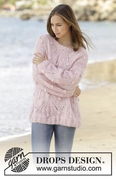 Candied Almonds jumper with lace pattern and bubbles by DROPS Design Free Knitting Pattern
