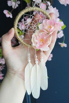 Flower Car Dream Catcher: Pink Car Accessory for Women Auto