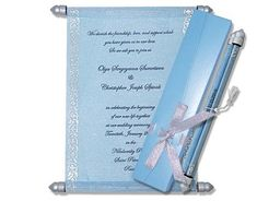 Sky Blue theme, Scroll Invitations, Wedding, Birthday Scroll Wedding Invitations, Scroll Invitation, Menu Cards, Table Cards, Ribbon Box, Money Envelopes, Sweet Box, Carry On Bag, Silver Color