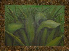 Oleo sobre cartón piedra, rugoso, marco hecho en piedra pequeña. 79 por 58 cm