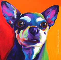 Colorful Chihuahua, Dog Art Print, DawgArt, FREE SHIPPING