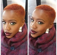 Her Red Hair Color and Makeup are Fierce! Now That's The Way to Rock a Big Chop! Natural Hair Cuts, Natural Hair Styles, Twa Hairstyles, Fade Haircut, Tapered Haircut, My Hairstyle, Natural Hair Inspiration, Red Hair Color, Thats The Way