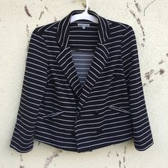 Black white stripe BLAZER jackeT cropped SZ M/L Black stretch fabric BLAZER with white stripes. Cropped, great for layering! Marked as a medium, runs big Charlotte Russe Jackets & Coats Blazers