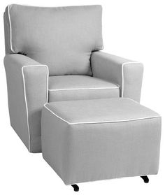 Little Castle Monaco II Glider - Pebble Grey w/White Piping. A great nursing chair for a stylish and modern nursery.