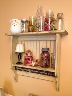 Old country shelf. Bought the shabby shelf for $5 at a yard sale. Most of the jars and bottles came from yard sales too.