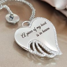 A Piece of My Heart is in Heaven Angel Necklace - Linda's Stars Heart Jewelry, Cute Jewelry, Jewlery, I Miss My Daughter, Parts Of The Heart, Valentine Gift For Wife, Valentines, Angel Wing Necklace, Angels In Heaven