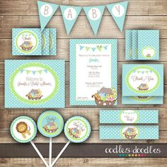 Boy's Baby Shower PARTY PACKAGE / Noah's Ark / Baby Shower Turquoise, Blue & Green Party Kit - Printable on Etsy, $35.00
