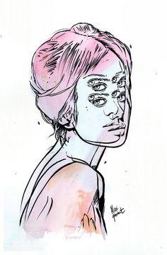 "Alex Garant - ""In The River"" - prismacolor marker & watercolor on rag paper - 30.5 x 40.6 cm (12""x16"")"