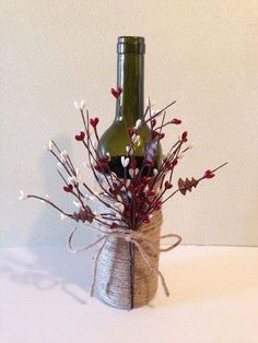 Artistic Convesion Of Wine Bottle With Flower And Thread