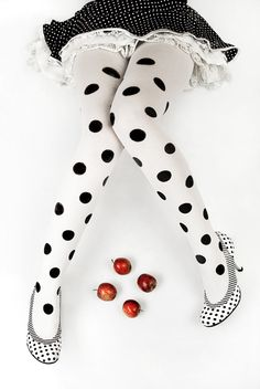 ●•●•●Polka.●•●•● Dotts.●•●•●. black and white. apples. legs.