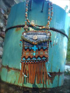 Mini Denim Aztec MEDICINE bag Native American INDIAN by GPyoga, $83,00