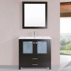 "Latitude Run Lyn Modern 36"" Single Bathroom Vanity Set with Mirror Base Finish: Espresso"