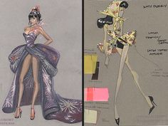 Illustrations Of Katy Perry's costumes