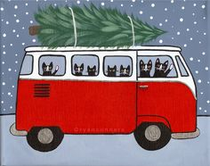 Red VW Bus Christmas Cats Original Folk Art by KilkennycatArt ... Vintage Christmas Cards, Christmas Cats, All Things Christmas, Winter Christmas, Christmas Time, Christmas Ornament, Kinder Art, Cat Art, Bus Interior