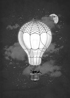 Lighten Up Abstract Poster Print Creative Art, Creative Design, Light Bulb Art, Stars At Night, Typography Art, Conceptual Art, Vintage Lighting, Abstract Canvas, Print Artist