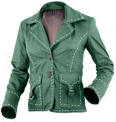 NWT Green Women Ladies with White Border Stylish Premium Genuine Leath – Leather Skin Shop Leather Store, Green Leather Jackets, Leather Skin, Jacket Buttons, Jackets Online, All About Fashion, Vest Jacket, Green Jacket, Leather Fashion
