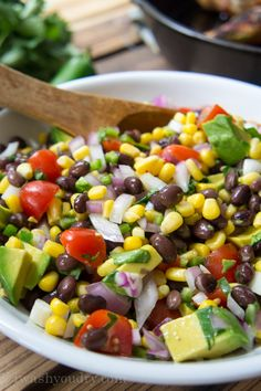 Cowboy Caviar (black beans, corn, tomato, onion and avocado tossed together with a little lime juice, salt and cilantro)