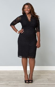 f07e6a0b895 Sleeved Scalloped Boudoir Lace Plus Size Cocktail Dress by Kiyonna