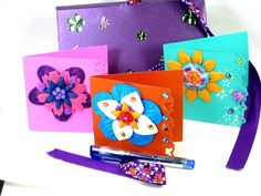 Gift Boxed NOTECARDS Hand Crafted from Purple Shimmer cardstock paper with Dragonflies & Flowers on the outside. Inside 5 Lovely Embellished, Hand Crafted, Die cut, Crystal Note Cards and Envelopes by Chris of PaperMagicFantastic, $25.00