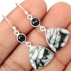 Pinolith & Black Onyx 925 Sterling Silver Earrings Jewelry SE128288 | eBay