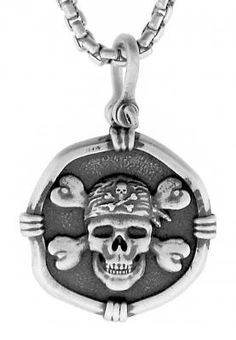 This sterling sliver Guy Harvey pirate pendant is on a box chain.