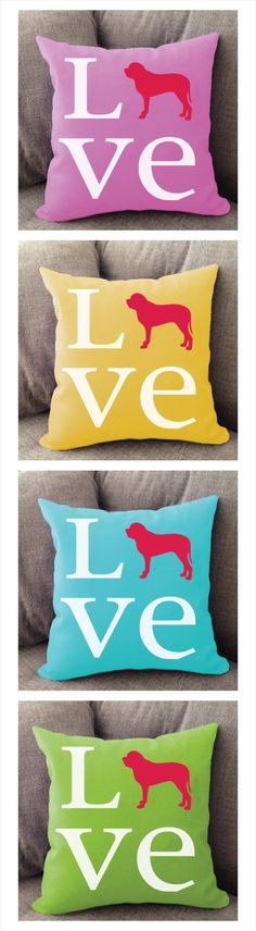 Mastiff Love pillow. Offered in multiple colors and 50+ dog breeds. Cover is machine washable and Made in USA.