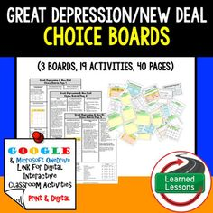 Great Depression New Deal Choice Boards with Template Pages (Paper and Google Version) THIS IS ALSO PART OF SEVERAL BUNDLES THIS IS ALSO PART OF A MEGA BUNDLE TO SAVE $$$And an American History CHOICE BOARD BUNDLE TO SAVE $$$Great Depression and New Deal BUNDLE VISIT MY STORE AND FOLLOW TO GET UPDATES WHEN NEW RESOURCES ARE ADDED Includes: 3 choice Boards (Print, Google Drive, and One Drive) 19 activities40 pages of templates and resources to use as needed (All pages are Black/White and…