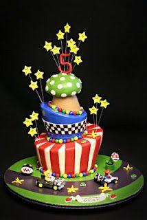 Topsy-Turvy Mario Kart Cake