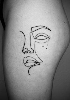 Single Line Portrait Tattoo