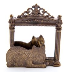 Vintage JJ Brooch Cat in Mirror Bronze Tone от RoadTripTreasures
