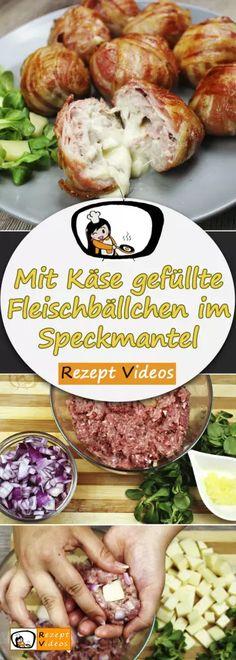 Mit Käse gefüllte Fleischbällchen im Speckmantel, Rezeptvideos, einfache Rezepte, Hackfleisch Rezepte, Mittagessen Rezept, leckere Rezepte