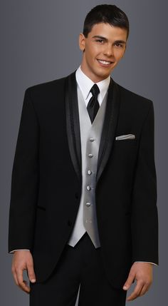 Black El Rey Tuxedo in modern fit,  2-button shawl lapel.  Available at #FriarTux