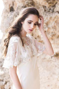 Gold Sequinned Bridal CapeWedding Cover UpBridal by BrideLaBoheme