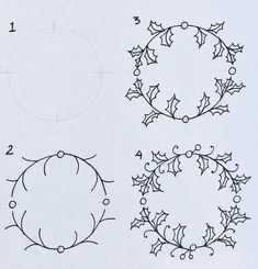 Marie Browning here with an easy holiday doodle. For this post, I'm presenting a Holly Wreath Doodle for your planners, journals, cards, tags Easy Christmas Drawings, Christmas Doodles, Christmas Art, Holly Wreath, Xmas Wreaths, Tattoo Henna, Wreath Drawing, Doodle Lettering, Simple Doodles