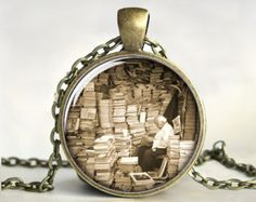 Art Pendant, Book Necklace, Book Pendant, Library Necklace, Book Jewelry,  Picture,  Teacher Jewelry, Art, Antique, Gift, Print (0384)