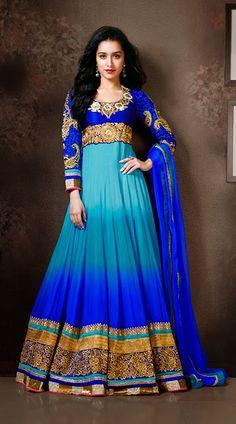 Shraddha Kapoor In Blue Floor Length Anarkali Suit BR112344