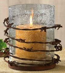 Western Barbed Wire Pillar Candle Holder - Adrian Home Country Western Decor, Western Crafts, Rustic Crafts, Pillar Candle Holders, Pillar Candles, Barbed Wire Decor, Barbed Wire Wreath, Barb Wire Crafts, Crafts To Make