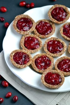 Healthy, No-Bake Cranberry Jam Tarts - Coconut and Berries Coconut, Food Sweets, The Oatmeal, Cranberries Jam Tarts, Healthy, Gluten Free, No Bak Cranberries, Baking Cranberries, Food Recipe