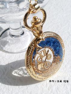 月の海に抱かれた時~ネックレス ペンダント キーホルダー ペンダントトップ イルカ 懐中時計 シェル 星の砂 歯車 時計
