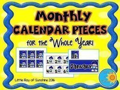 "This HUGE product consists of monthly calendar pieces with cute graphics and eye catching colors! Each month has 4 variations to choose from:colored background - choice of 2 imageswhite background - INK SAVER - choice of 2 imagesEach calendar piece measures 2.5 X 2.5 inches.Each month also includes a Monthly Header (4 choices as well)Each header measures 3.82 X 9.7 inches.Multiple images are used each month to allow for ""Patterning"" with your calendar dates.Don't forget to rate th"
