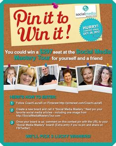 Pin to Win Two Tickets to the Social Media Mastery Tour.... Follow the steps in the image. Good Luck!  Learn more about the Social Media Days in MA and CT at http://socialmediamasterytour.com