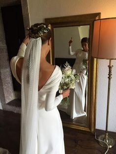 79 Beautiful Simple Wedding Gowns That Will Leave You Speechless off the shoulder wedding dress deep plunging neckline wedding dress long sleeves wedding dress simpleweddingdress weddingdress weddinggown Simple Wedding Gowns, Long Wedding Dresses, Long Sleeve Wedding, Wedding Veils, Simple Weddings, Wedding Bride, Bridal Dresses, Dress Wedding, Modest Wedding
