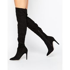 Lipsy Karen Over The Knee Boots ($150) ❤ liked on Polyvore featuring shoes, boots, black, over the knee boots, over knee boots, over-knee boots, thigh high boots and black over knee boots