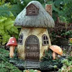 Solar Mushroom Fairy House Fairy Homes and Gardens solar fairy garden houses - House & Garden Clay Fairy House, Gnome House, Fairy Garden Houses, Gnome Garden, Garden Cottage, Miniature Fairy Gardens, Miniature Houses, Fairy Village, Mushroom House