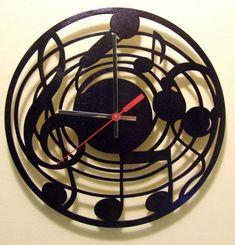 Music Nots wooden wall clock. by joannakrzepkowska on Etsy