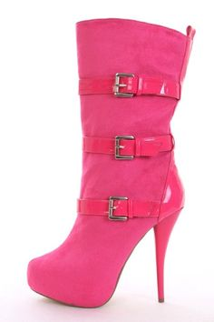 Fuchsia Faux Suede Patent Buckle Strap Boots @ Amiclubwear Boots Catalog:women's winter boots,leather thigh high boots,black platform knee high boots,over the knee boots,Go Go boots,cowgirl boots,gladiator boots,womens dress boots,skirt boots,pink boots,f